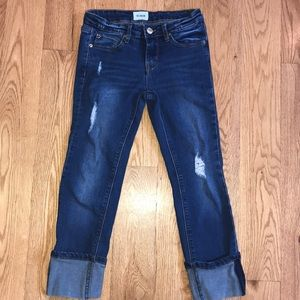 Hudson cuffed and cropped distressed girls jeans